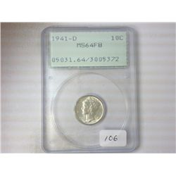 1941-D MERCURY DIME PCGS MS64FB