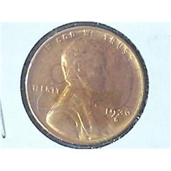 1936-S LINCOLN CENT RED UNC