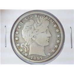 1897-O BARBER HALF DOLLAR (FINE) (BETTER DATE)