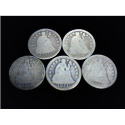 5 ASSORTED 1850'S SEATED LIBERTY DIMES