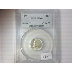 1959 SILVER ROOSEVELT DIME PCGS MS66