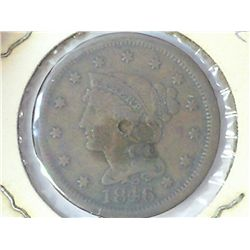 1846 US LARGE CENT (PUNCH MARK IN CENTER)