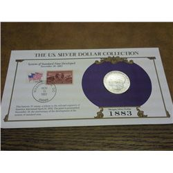 1883 MORGAN SILVER DOLLAR AND STAMP SET