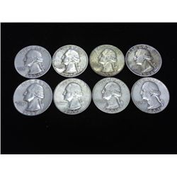 8 ASSORTED 50'S WASHINGTON SILVER QUARTERS