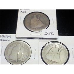 1853,54 & 58 SEATED LIBERTY QUARTERS