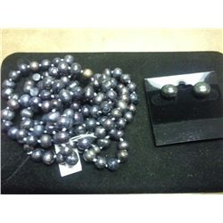 """48"""" FRESH WATER PEARL NECKLACE AND EARRING SET"""