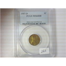 1957-D LINCOLN CENT PCGS MS66RB