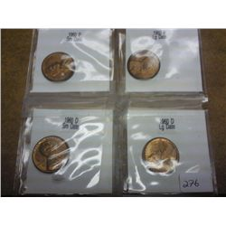 1960 P/D SMALL AND LARGE DATE LINCOLN CENTS (UNC)