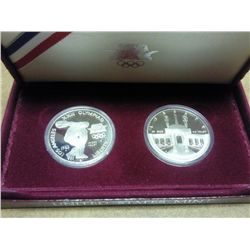 1983/84 US OLYMPIC 2 COIN SILVER PROOF SET