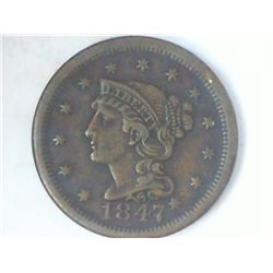 1847 US LARGE CENT (EXTRA FINE)