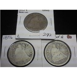 1854,76 & 77-S SEATED LIBERTY QUARTERS
