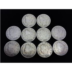 "10 ASSORTED LIBERTY ""V"" NICKELS"