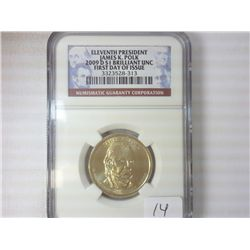 2009-D POKE DOLLAR NGC BU 1ST DAY OF ISSUE