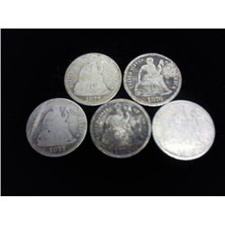 5 ASSORTED CC SEATED LIBERTY DIMES