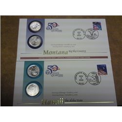 2 US MINT SET 50 STATE QUARTER FDC'S (HA, MT)