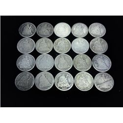 20 ASSORTED SEATED LIBERTY DIMES