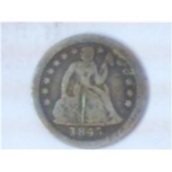 1845-O SEATED LIBERTY DIME