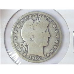 1902-O BARBER HALF DOLLAR (GOOD+)