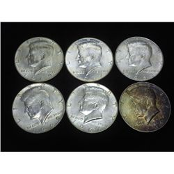 6 ASSORTED 40% SILVER KENNEDY HALF DOLLARS