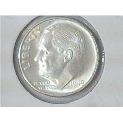 1949-S SILVER ROOSEVELT DIME SOLID MS65