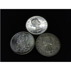3-1964 CANADA SILVER 50 CENTS (2-UNCS)