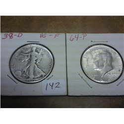 1938-D WALKING LIBERTY HALF & 64 90% SILVER JFK