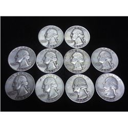 10 ASSORTED 1950-S WASHINGTON SILVER QUARTERS