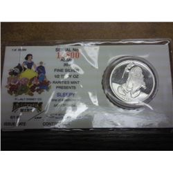 "DISNEY ""SLEEPY"" 1/2 TROY OZ. FINE SILVER PROOF"
