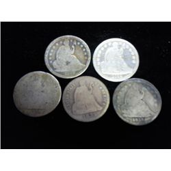 5 ASSORTED 1830'S SEATED LIBERTY DIMES
