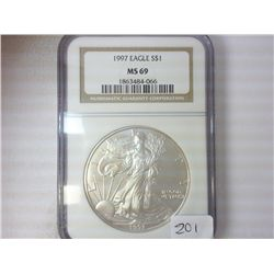 1997 AMERICAN SILVER EAGLE NGC MS69