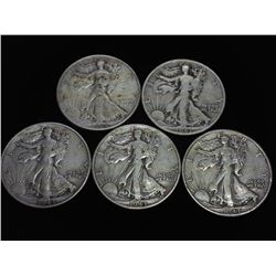 5 ASSORTED WALKING LIBERTY HALF DOLLARS