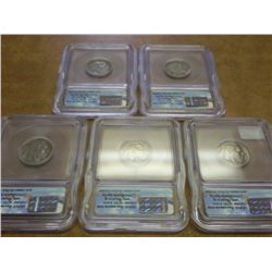 5-ICG BUFFALO NICKEL SLABS 1923, 28,35,36 & 37-D