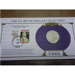 1880 MORGAN SILVER DOLLAR AND STAMP SET