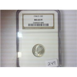 1946-S SILVER ROOSEVELT DIME NGC MS65FT