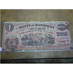 NIFTY 1800'S ADVERTISING NOTE STATE OF MISSOURI