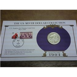 1904 MORGAN SILVER DOLLAR AND STAMP SET
