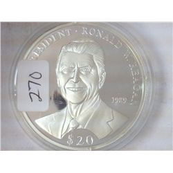2000 LIBERIA $20 SILVER PROOF RONALD W. REAGAN