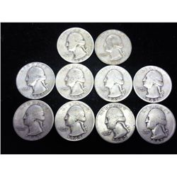 10 ASSORTED 1940'S WASHINGTON SILVER QUARTERS