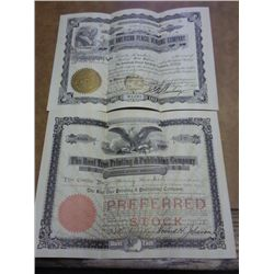 2-VINTAGE STOCK CERTIFICATES DATED 1906  & 07