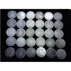 30 ASSORTED SEATED LIBERTY DIMES