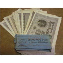 20 1923 GERMAN 100,000 MARK INFLATION NOTES