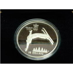 1986 CANADA SILVER $20 OLYMPICS FREE STYLE SKIING