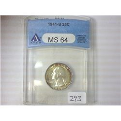 1941-S WASHINGTON SILVER QUARTER ANACS MS64
