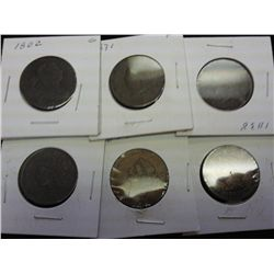 1802,31,38,38,39 & 95 US LARGE CENTS