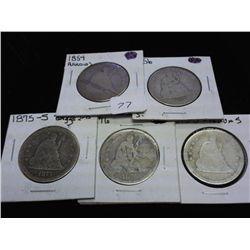 1854,56,75-S,76 &amp; 76-S SEATED LIBERTY QUARTERS