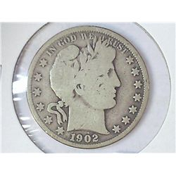 1902 BARBER HALF DOLLAR (VERY GOOD)