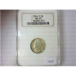 1944-P JEFFERSON NICKEL NGC MS67 35% SILVER