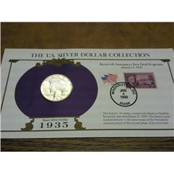 1935-S PEACE SILVER DOLLAR AND STAMP SET