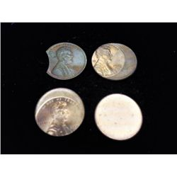 4 ERROR LINCOLN CENTS (CLIP, 2 OFF CENTERS & BLANK