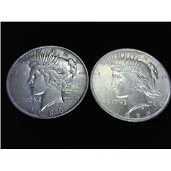 1923-D & 25 PEACE SILVER DOLLARS